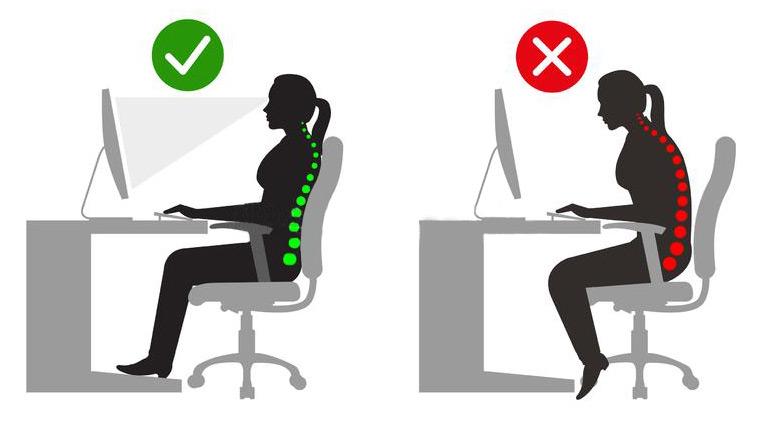 postion correcte et incorrecte face à un ordinateur en position assise